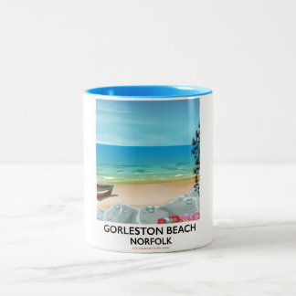 Gorleston Beach Norfolk Rail poster. Two-Tone Coffee Mug