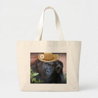 gorrilla in a straw hat jumbo tote bag