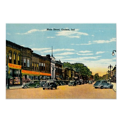 Goshen, Indiana Main Street 1940 Print