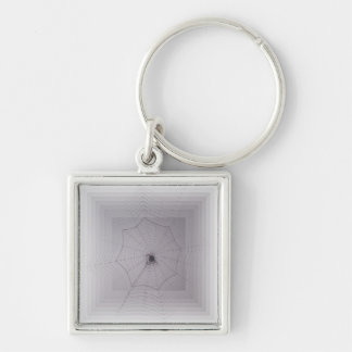 Gossamer Halloween Greetings Silver-Colored Square Key Ring