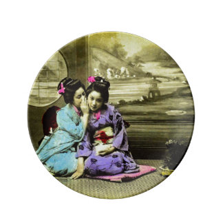 Gossip Geisha Girls of Old Japan Vintage Japanese Plate
