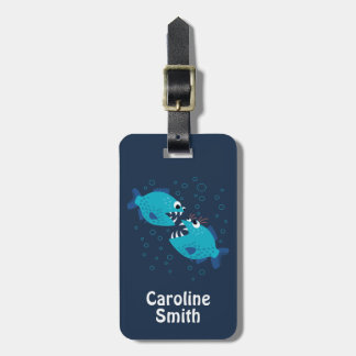 Gossiping Blue Piranha Fish Luggage Tag