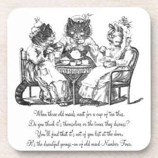 Gossiping Cats Have Tea Party Coaster