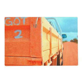 Got 2 travel blue orange rustic sky road ute laminated placemat