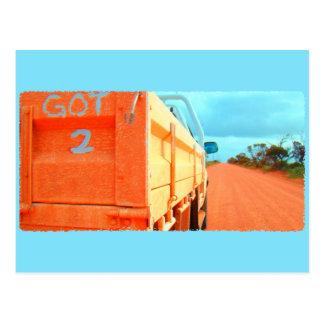 Got 2 travel blue orange rustic sky road ute postcard