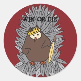 GoT Brute Hoot Owl King Classic Round Sticker