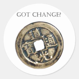 Got Change? Chinese Coin Classic Round Sticker
