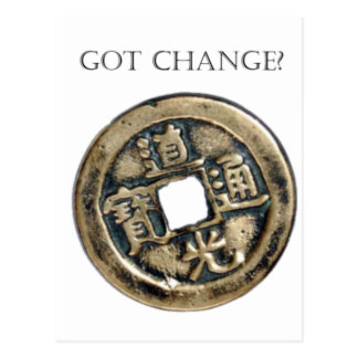 Got Change? Chinese Coin Postcard