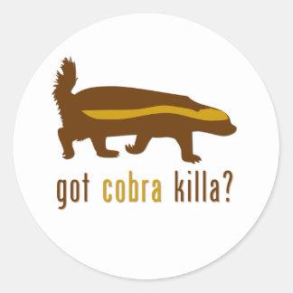 got cobra killa (honey badger) round sticker