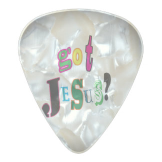 Got Jesus Black Oval Abstract Christian Pearl Celluloid Guitar Pick