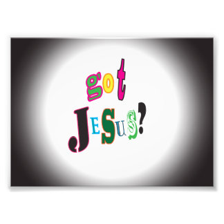 Got Jesus Black Oval Abstract Photographic Print
