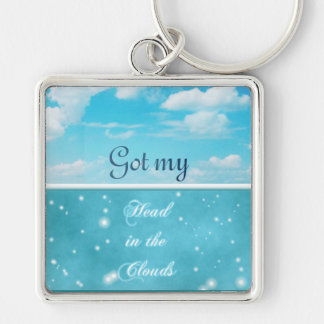 Got my head in the clouds Silver-Colored square key ring