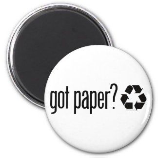 got paper? Recycling Sign 6 Cm Round Magnet