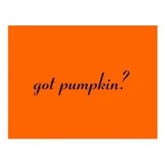 got pumpkin? postcard