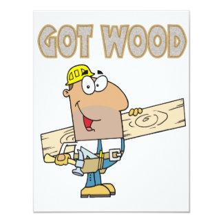 got wood carpenter humor funny design personalized invitations