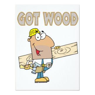 got wood carpenter humor funny design personalized invites
