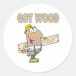 got wood carpenter humour funny design round stickers