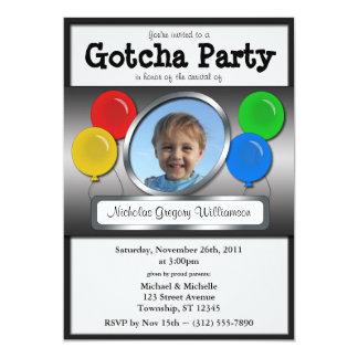 Gotcha Party Balloon Adoption Invitations