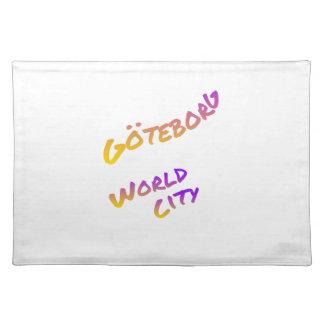 Göteborg world city, colorful text art placemat