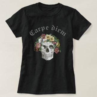 Goth Carpe Diem Skull Flower Art T-Shirt