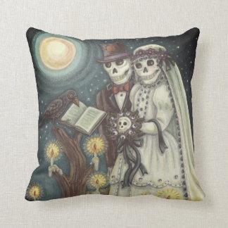 Goth Cemetery SKELETON WEDDING THROW PILLOW