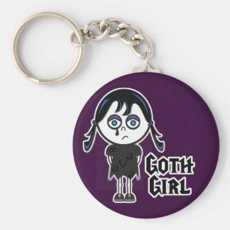 Goth Emo Girl Basic Round Button Key Ring