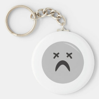 goth emo smiley face basic round button key ring