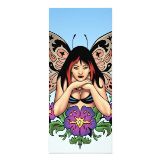 """Goth Fairy with Flowers, Butterfly Wings by Al Rio 4"""" X 9.25"""" Invitation Card"""