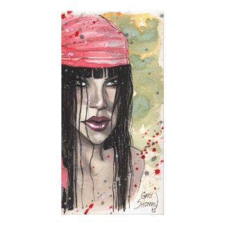 Goth Girl in red Scarf by Gary Shipman Custom Photo Card
