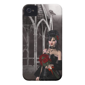 Goth girl & roses by spooky Gothic gazebo iPhone 4 Case-Mate Cases