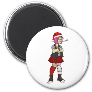 goth girl wishes you a merry christmas 6 cm round magnet