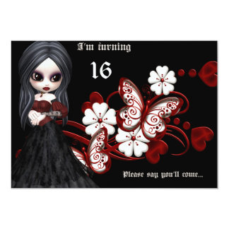 Goth Girl with Butterflies Sweet 16 Birthday Card