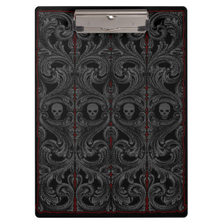 Goth Gray Ornament with Skull Clipboard