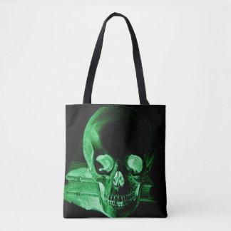 Goth Green Skull Skeleton Head Tote Bag