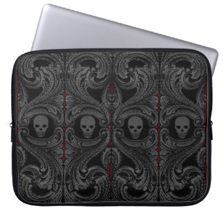 Goth Grey Ornament with Skull Laptop Computer Sleeves