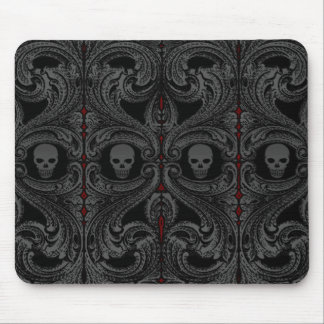 Goth Grey Ornament with Skull Mouse Pad