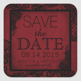 Goth Grunge Lace Save the Date Label Square Sticker