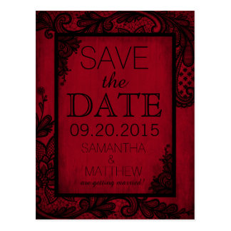 Goth Grunge Lace Save the Date Postcard
