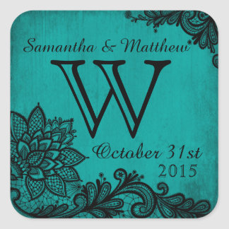 Goth Grunge Lace Wedding Gift Label Square Sticker