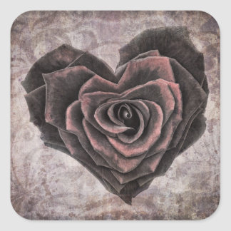 goth heart rose stickers