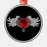 Goth Heart with Angel Wings Silver-Colored Round Decoration