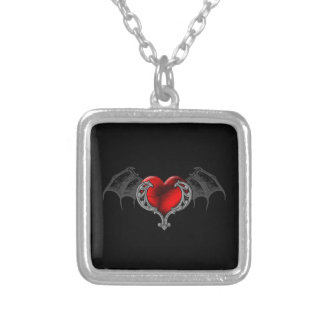 Goth Heart with Bat Wings Necklace