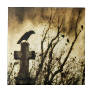 Goth Home Art Small Square Tile