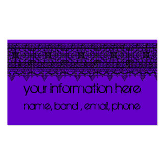 goth inspired black lace over purple business card template