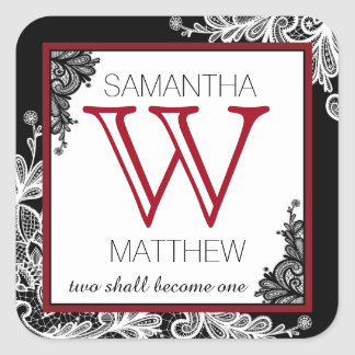 Goth Lace Wedding Gift Label