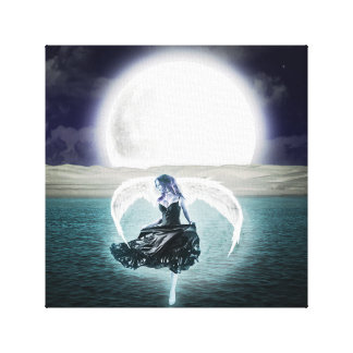 goth moon angel canvas art
