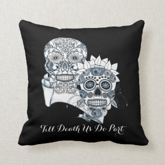 Goth Mr and Mrs Sugar Skulls Till Death Us Do Part Throw Cushions