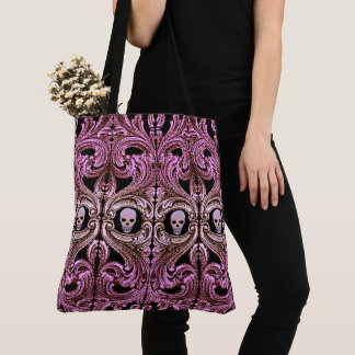 Goth Pink Ornament with Skull Tote Bag
