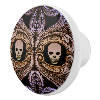 Goth Purple Ornament and Skull Ceramic Knob