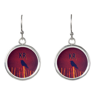 Goth Quoth The Raven Under Midnight Sky Initialled Earrings